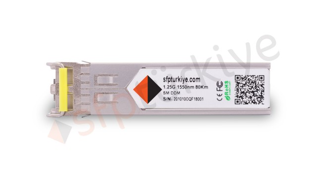 MARCONI Uyumlu Gigabit SFP Modül - 1000Base-ZX 1550nm 80Km ZR SM LC DDM